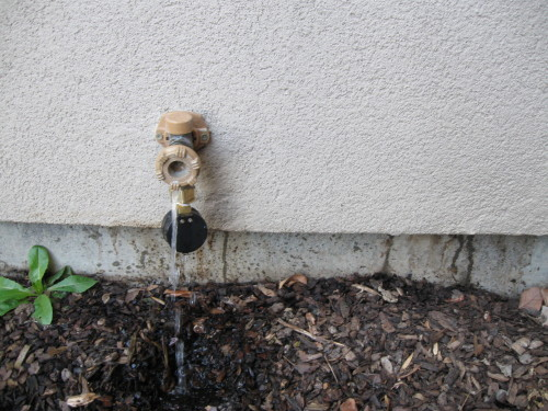 Outdoor faucet leaking behind stucco siding | Bent Nail Inspections